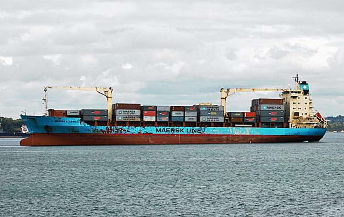 FILE - This April 22, 2009 file photo shows the U.S.-flagged Maersk Alabama, leaving the Port of Mombasa, Kenya. Somali pirates attacked the Maersk Alabama ship for the second time in seven months on Wednesday Nov, 18, 2009, but guards aboard the cargo ship returned fire and repelled the takeover attempt, the EU's naval force said. (AP Photo/Sayyid Azim, File)