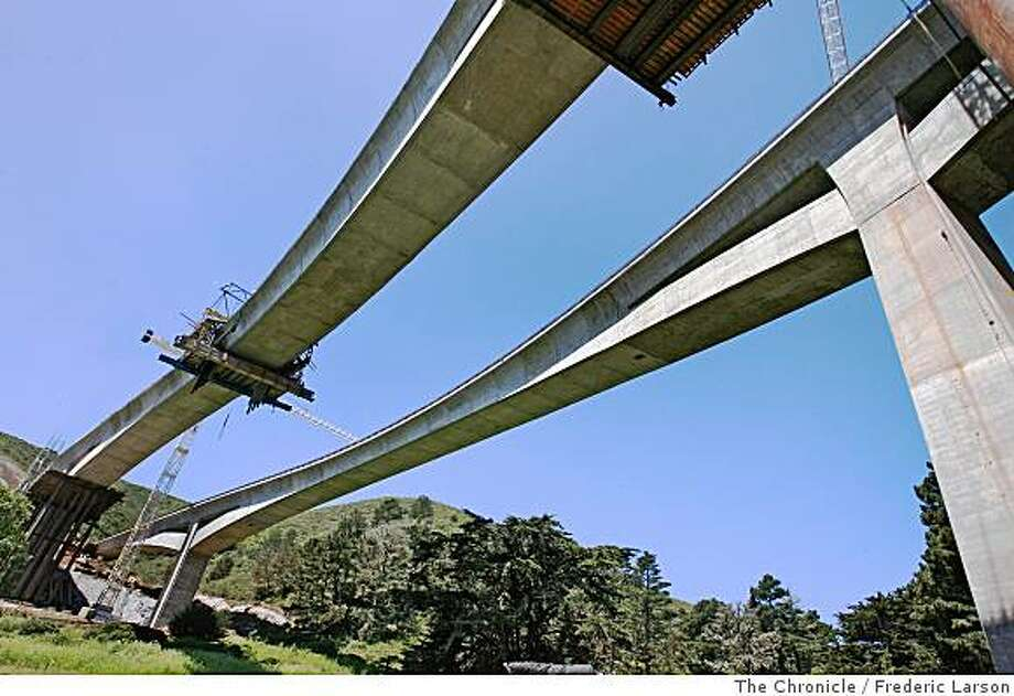 The new bypass of Devils Slide in Pacifica Calif., with its pair of graceful arched bridges are near completion.Photo by Frederic Larson/ The Chronicle Photo: Frederic Larson, The Chronicle