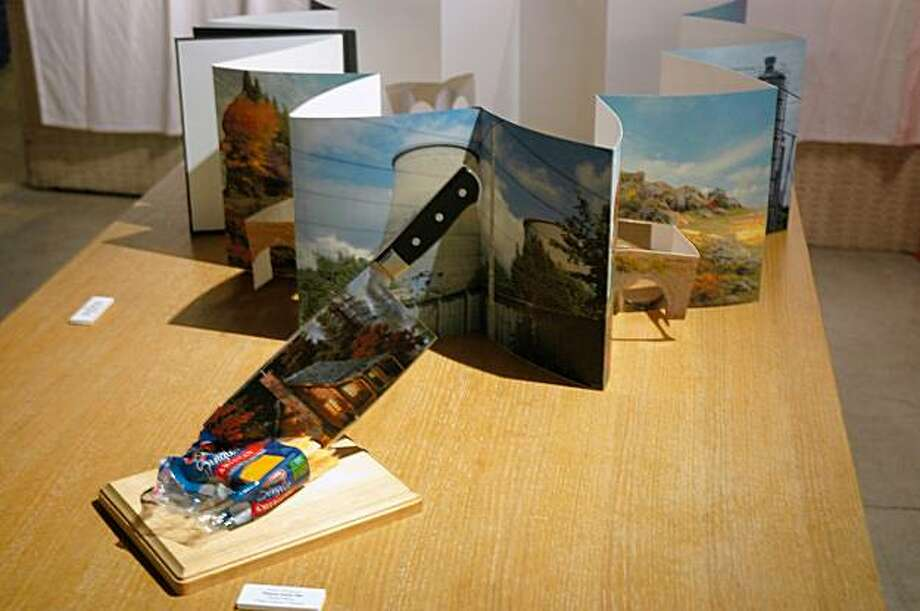 """artworks created for the one-night-only """"Kinkade Cannibalized"""" show held in North Beach last Friday. Photo: Courtesy, Carrie Galbraith"""