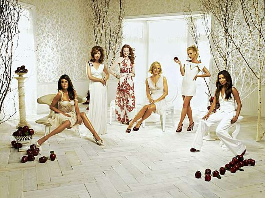 "Teri Hatcher, Dana Delaney, Marcia Cross, Felicity Huffman, Nicollette Sheridan and Eva Longoria Parker in ""Desperate Housewives."" 2008 DESPERATE HOUSEWIVES - ABC's ""Desperate Housewives"" stars Teri Hatcher as Susan Mayer, Dana Delany as Katherine Mayfair, Marcia Cross as Bree Van De Kamp, Felicity Huffman as Lynette Scavo, Nicollette Sheridan as Edie Britt and Eva Longoria Parker as Gabrielle Solis. (ABC/RANDEE ST. NICHOLAS) Photo: Randee St. Nicholas, ABC"