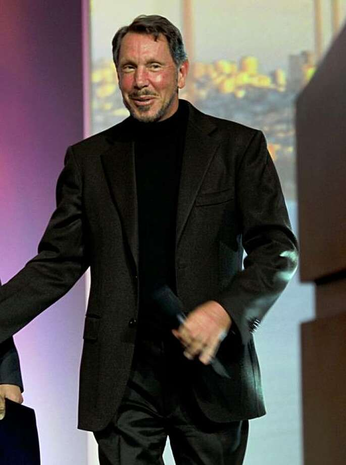 Governor Arnold Schwarzenegger  with Oracle CEO Larry Ellison at Oracle OpenWorld, in San Francisco Calif., on Wednesday, October 14, 2009. Photo: Liz Hafalia, The Chronicle
