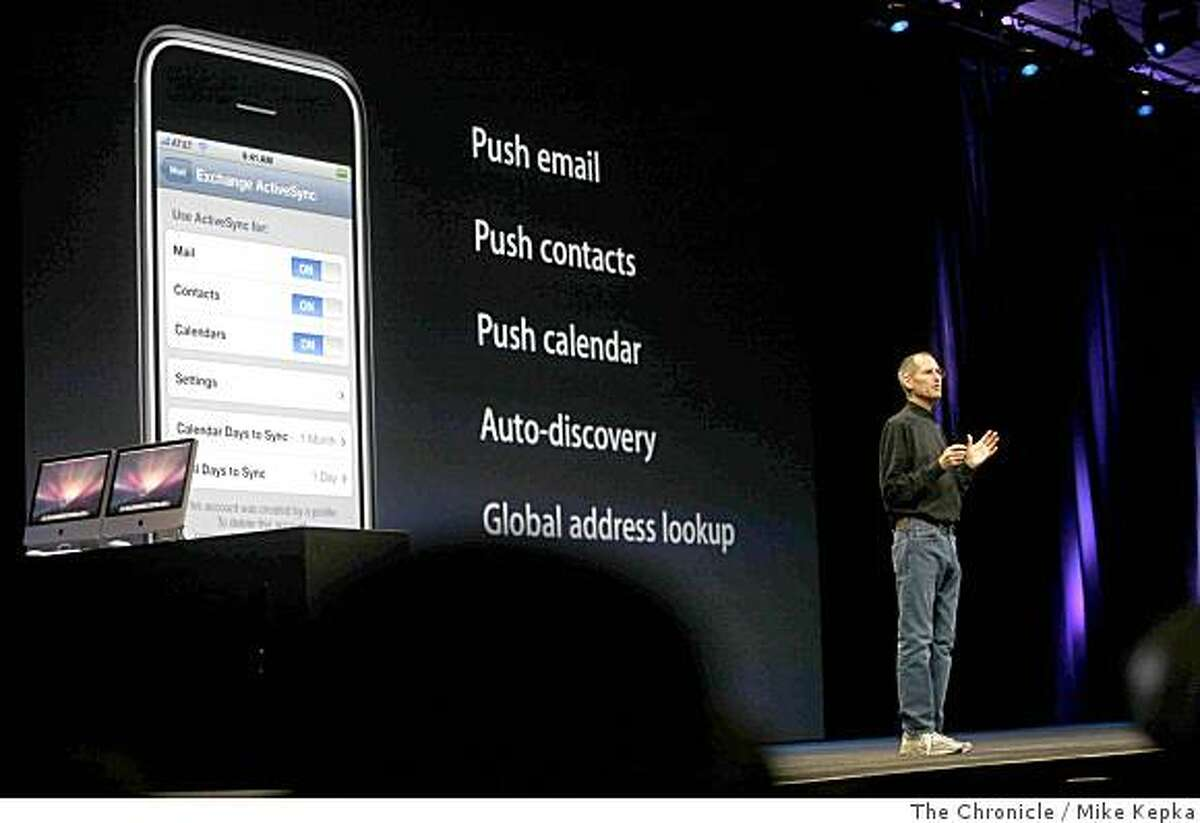 During the keynote address at the Apple World Wide Developers Conference, Apple CEO Steve Jobs announces iPhone 2.0 software for the iPhone on Monday, June, 9, 2008 in San Francisco, Calif. Photo by Mike Kepka / The Chronicle