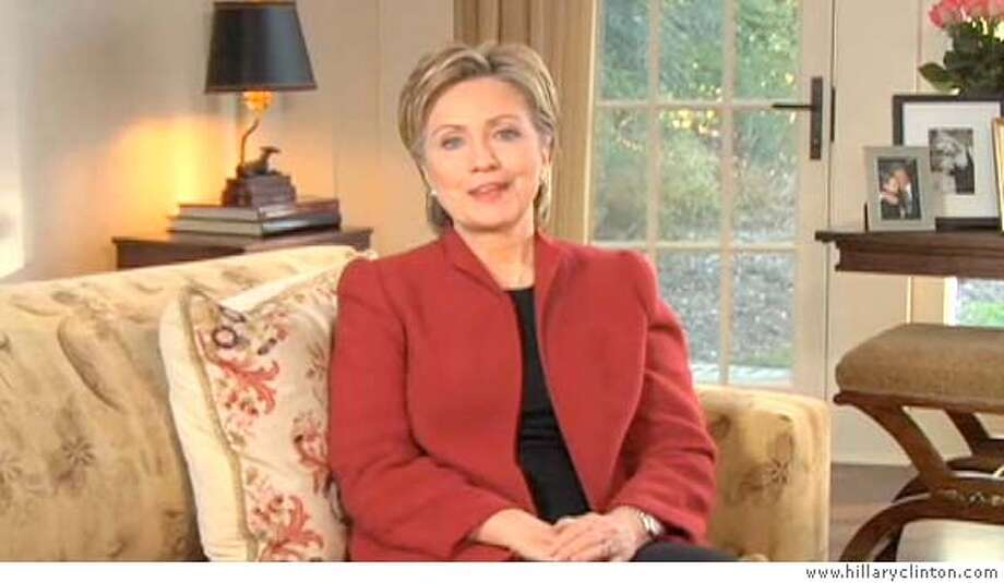 Sen. Hillary Clinton discusses her plans to form an exploratory committee. Video image from www.hillaryclinton.com