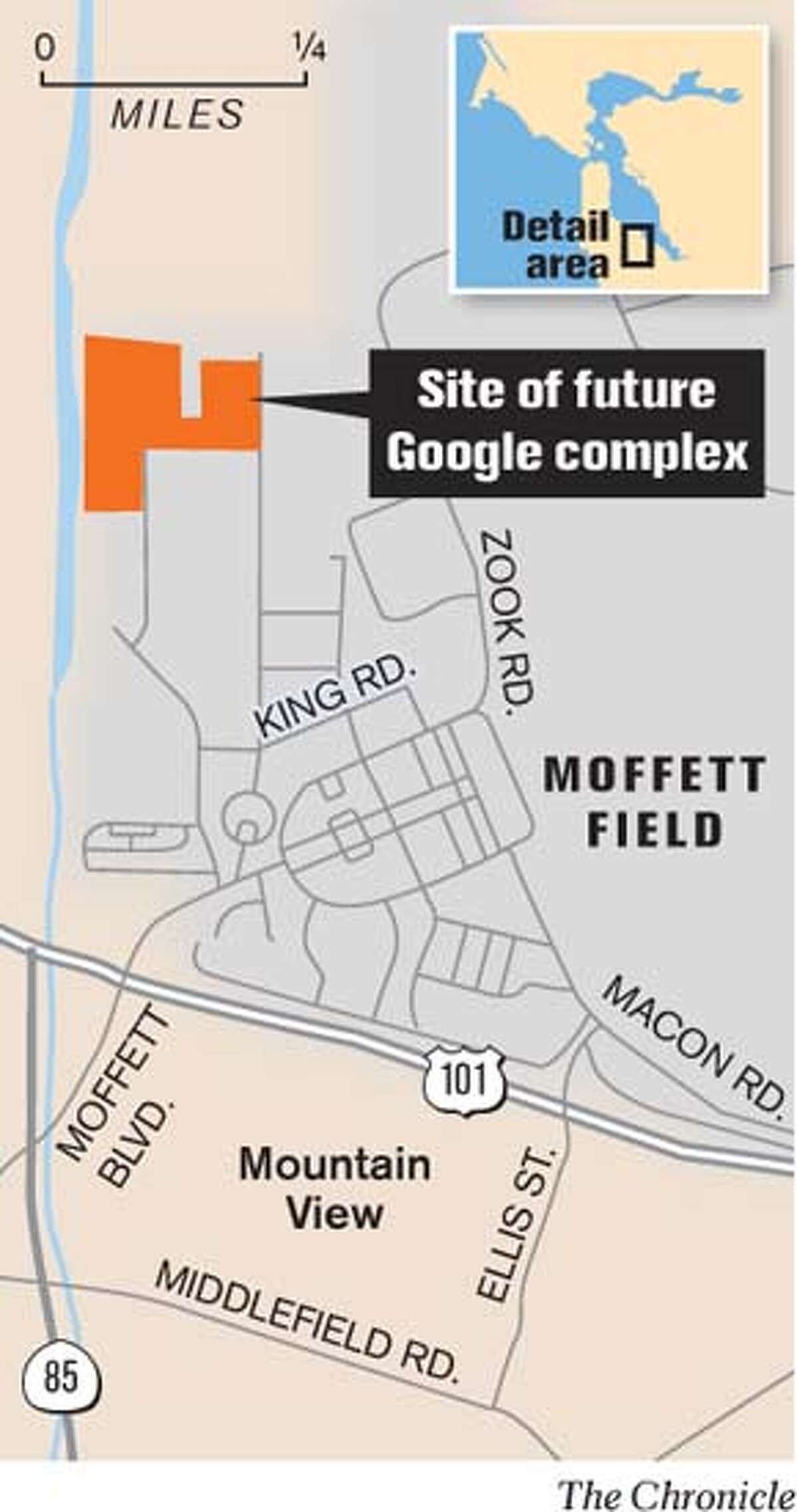 Site of future Google complex. Chronicle Graphic