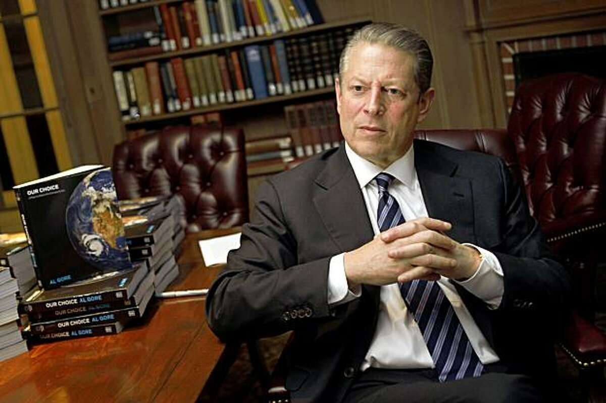 Al Gore talks about his new book at Dominican College in San Rafael on Monday.