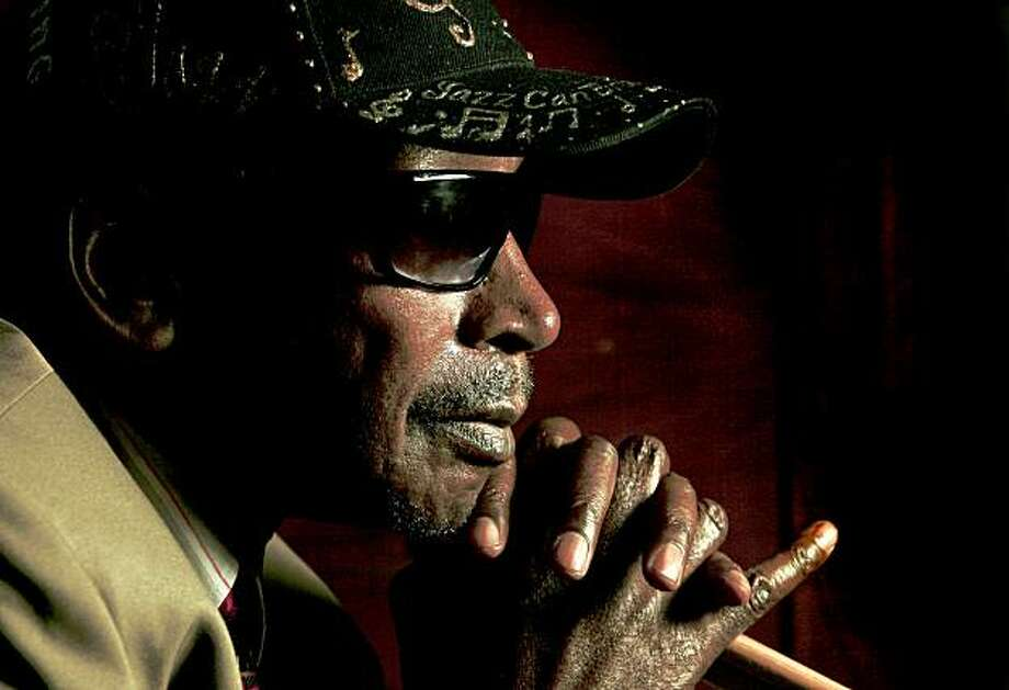 "Legendary jazz drummer Donald ""Duck"" Bailey stops by Acme Music  in Oakland, Calif., on Saturday October 24, 2009. Photo: Michael Macor, The Chronicle"