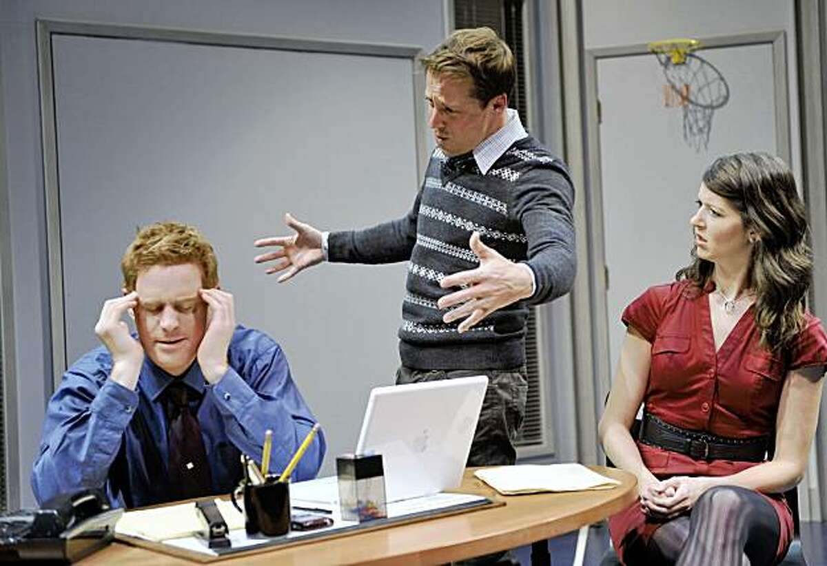"""Jud Williford (left) as Tom with Peter Ruocco and Alexandra Creighton as his critical friends in Neil LaBute's """"Fat Pig"""" at Aurora Theatre"""