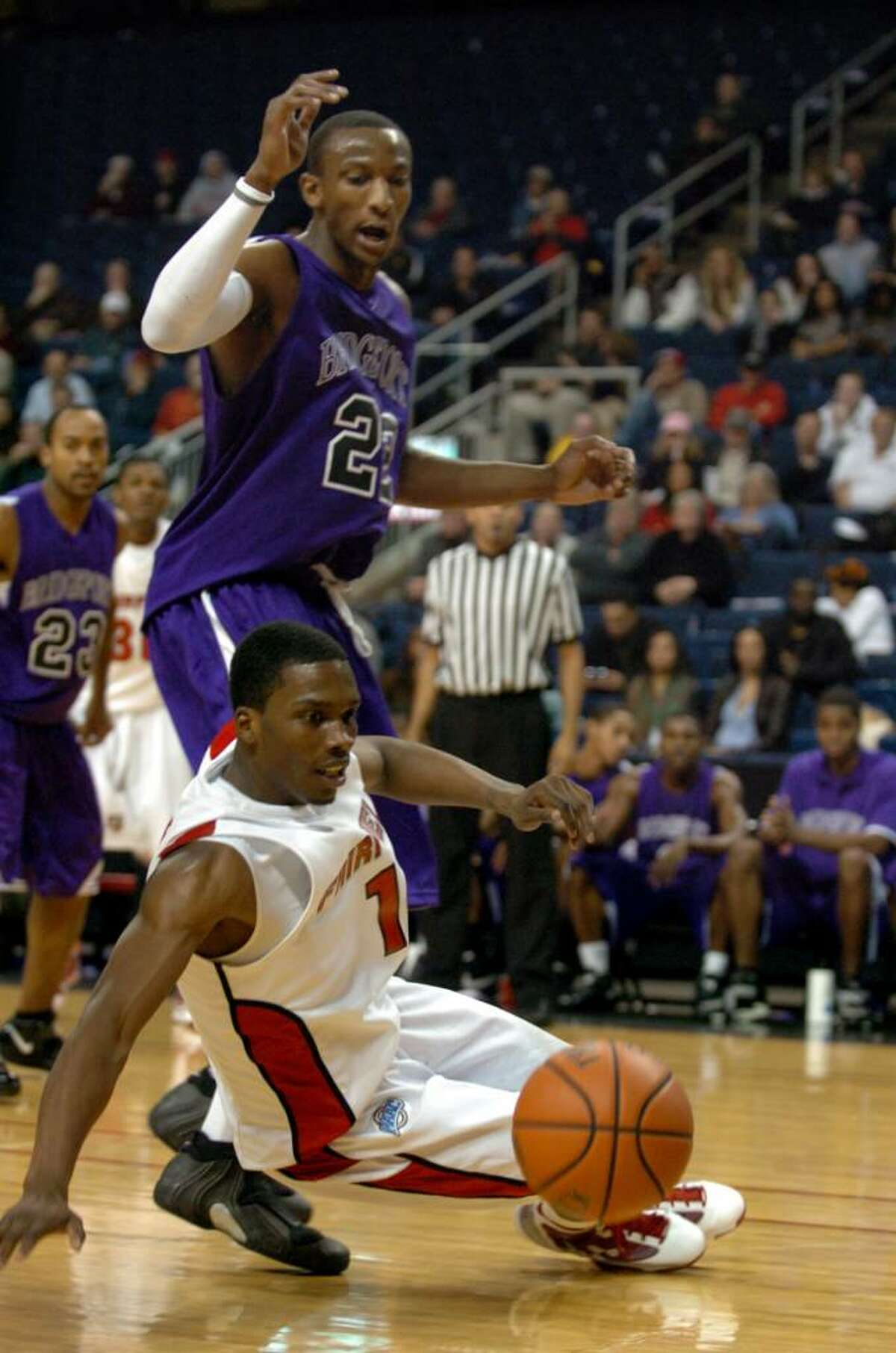 Fairfield University's #1 Jamal Turner looses control of the ball, during basketball action against Bridgeport University at the Arena at Harbor Yard in Bridgeport, Conn. on Thursday Nov. 05, 2009.