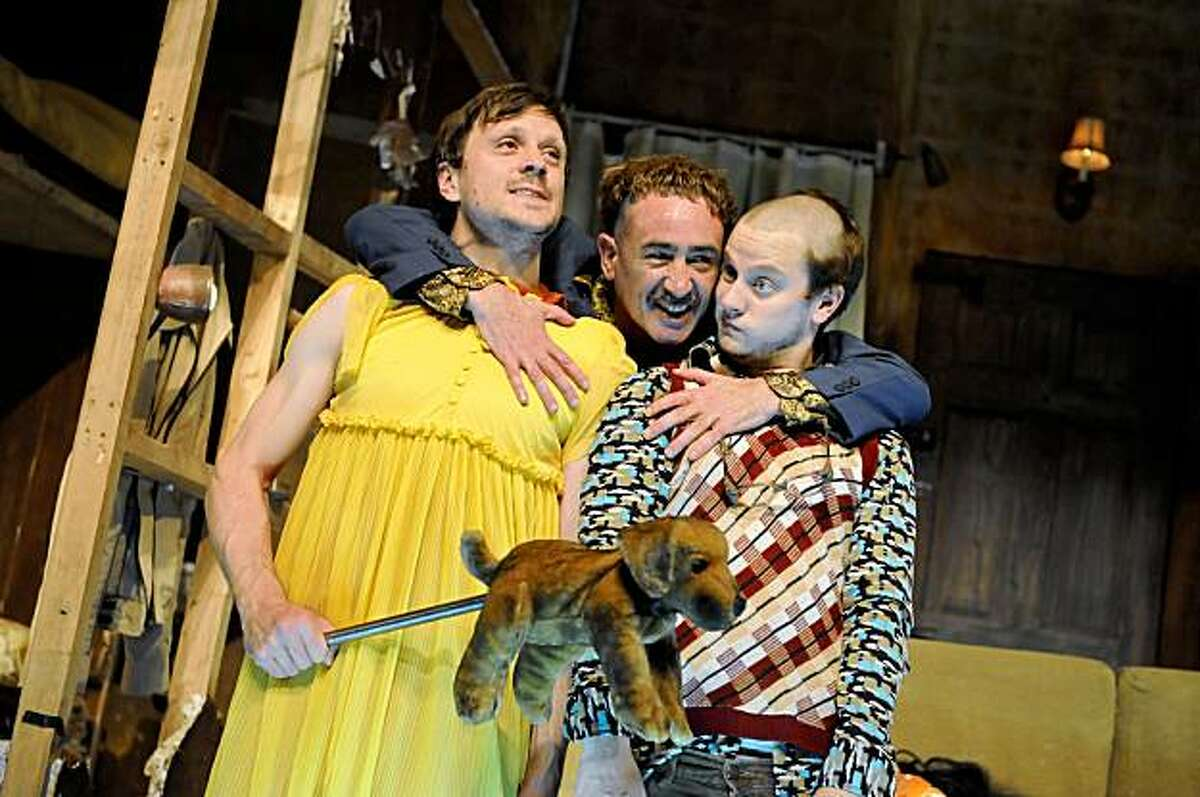 Raymond Scannell (left), Michael Glenn Murphy and Tadhg Murphy in the Druid Ireland production of Enda Walsh's