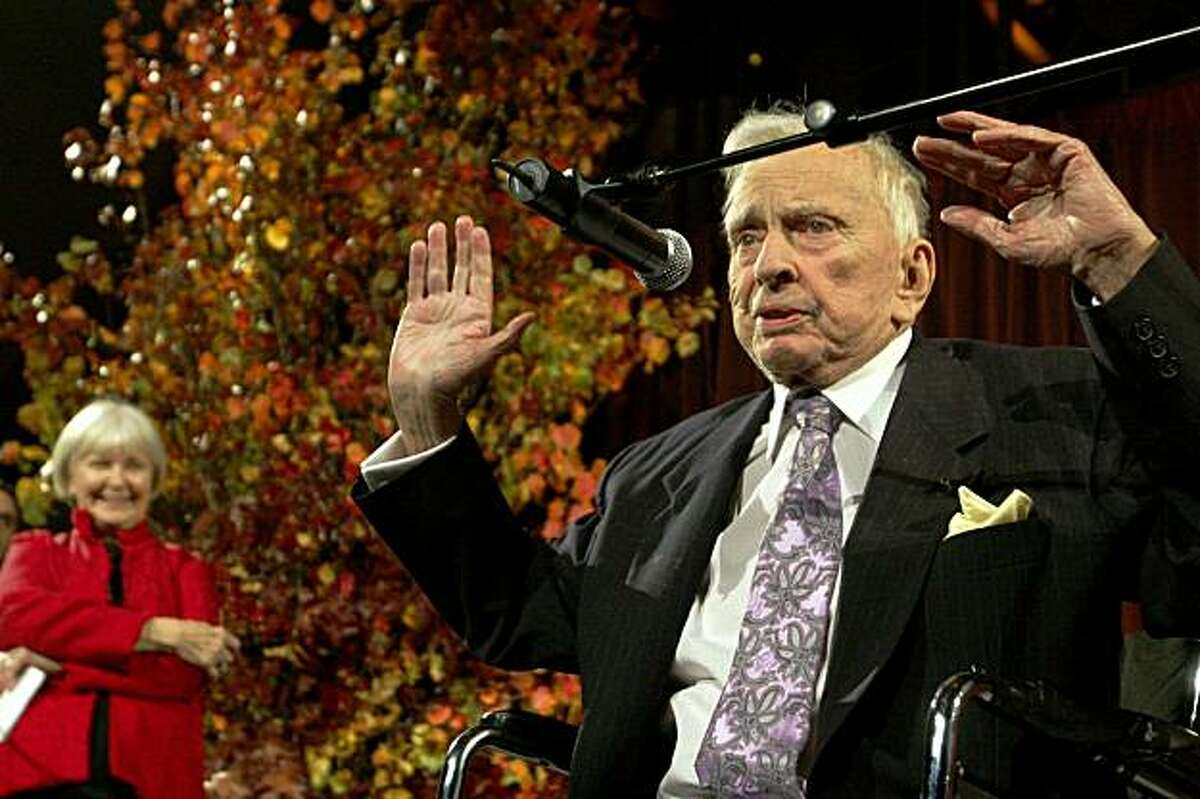 Actress Joanne Woodward, left, stands by as Gore Vidal speaks at the National Book Awards Wednesday Nov. 18, 2009 in New York. Woodward presented Vidal with the Medal for Distinguished Contribution to American Letters. (AP Photo/Tina Fineberg)