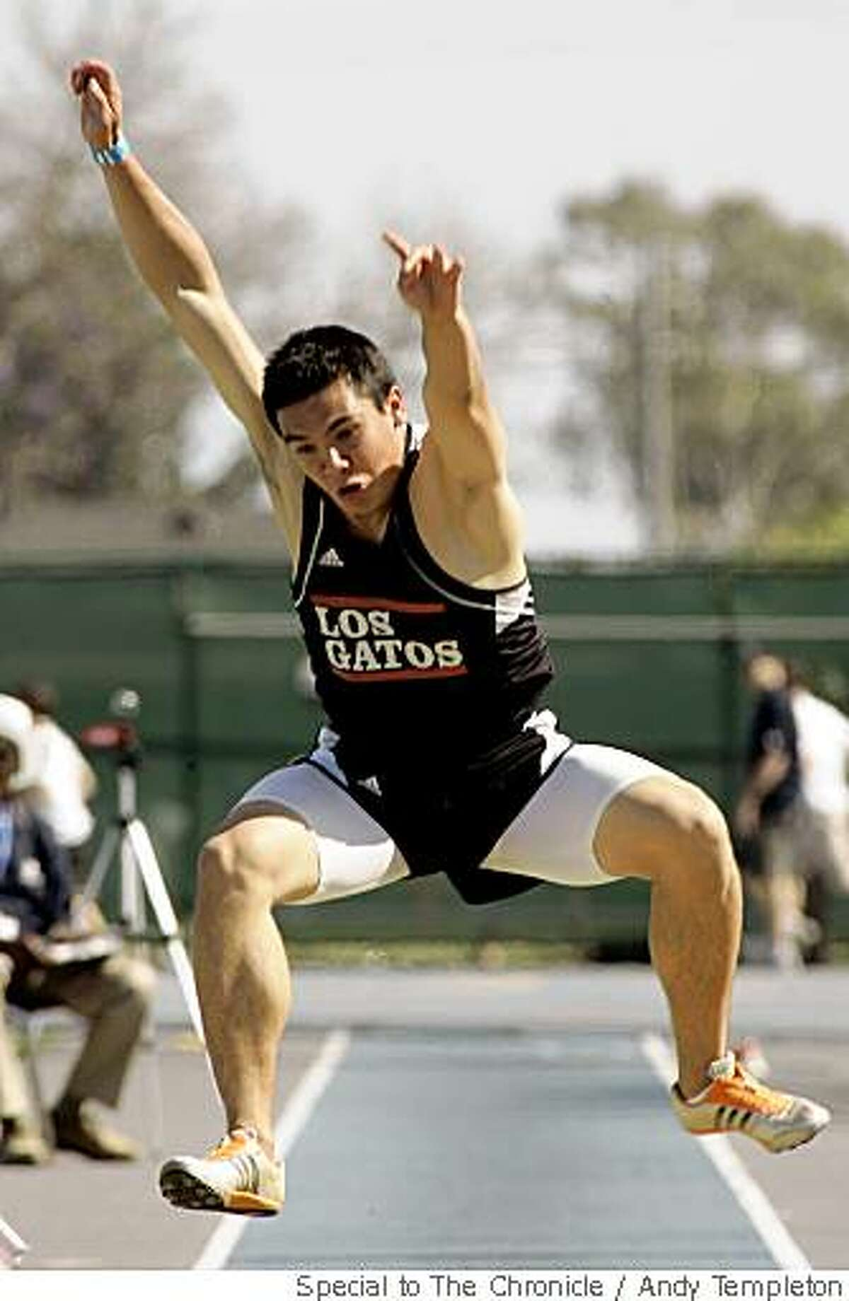 Kevin Rutledge of Los Gatos placed 2nd in the Boys Long Jump at the CIF Track and Field Championships Saturday in Norwalk.