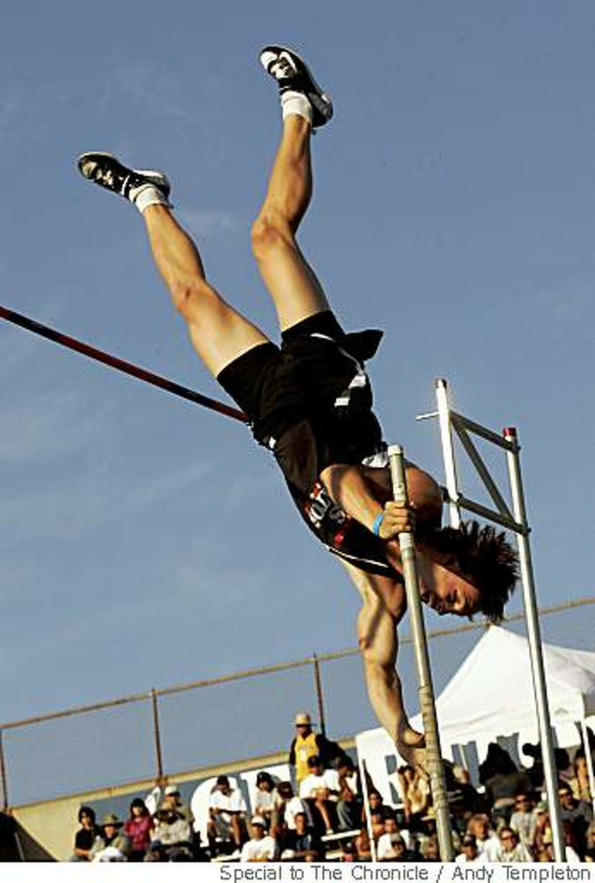 Nico Weiler of Los Gatos came in 1st with this jump of 17 feet 3 inches in the Boys Pole Vault at the CIF Track and Field Championships Saturday in Norwalk.