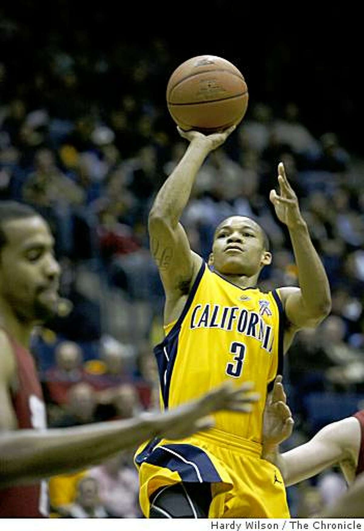 Cal Bears guard Jerome Randle (3) goes up for a shot in the first half against Stanford Cardinals players on Saturday, February 14, 2009, at Haas Pavilion in Berkeley, Calif.