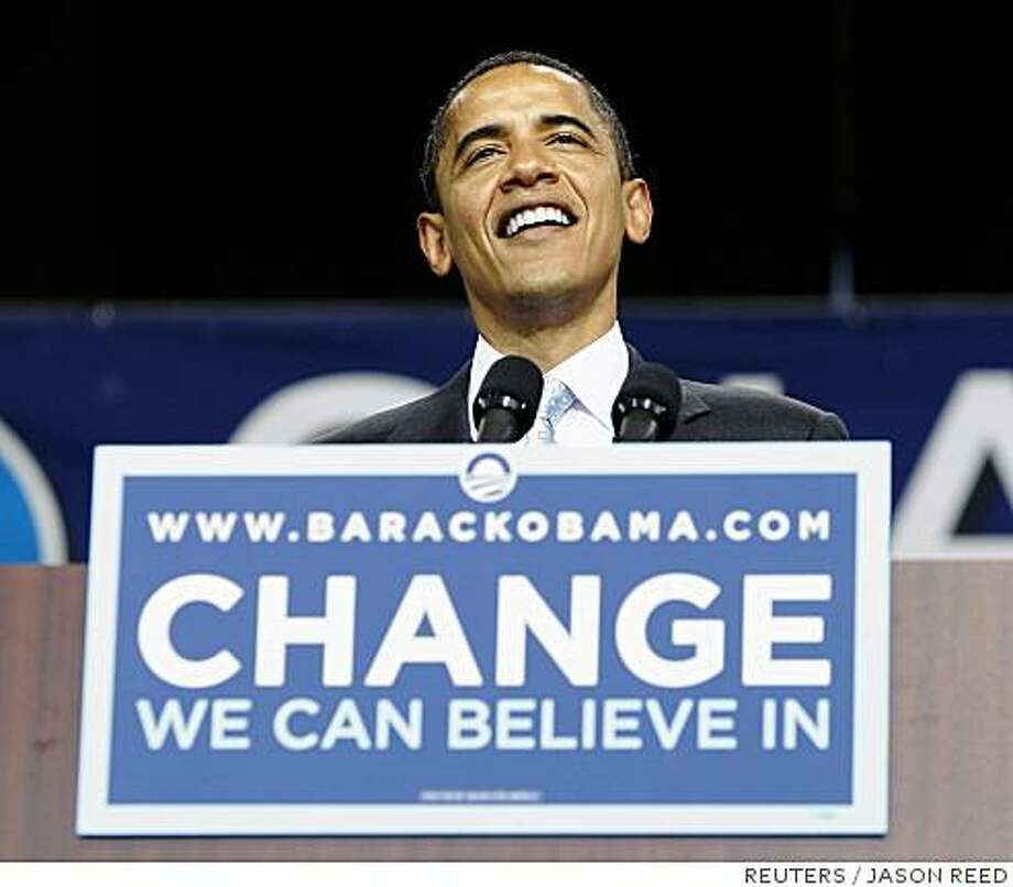 Presumptive Democratic presidential nominee Senator Barack Obama (D-IL) attends a campaign rally in Bristow, Virginia June 5, 2008.     REUTERS/Jason Reed    (UNITED STATES)  US PRESIDENTIAL ELECTION CAMPAIGN 2008     (USA) Photo: JASON REED, REUTERS