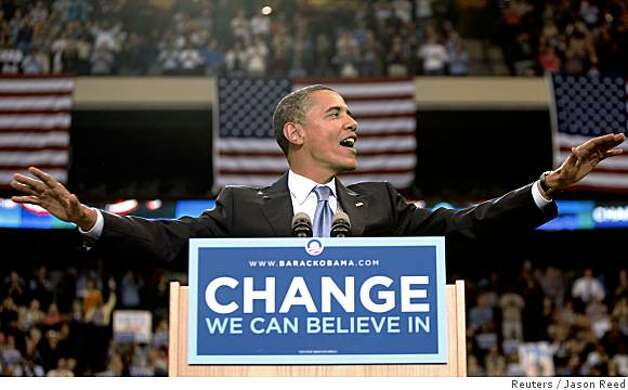 U.S. Democratic presidential candidate Senator Barack Obama (D-IL) waves as he begins his speech at his South Dakota and Montana presidential primary election night rally in St. Paul, Minnesota June 3, 2008. REUTERS/Jason Reed (UNITED STATES) US PRESIDENTIAL ELECTION CAMPAIGN 2008 (USA) Photo: Jason Reed, Reuters