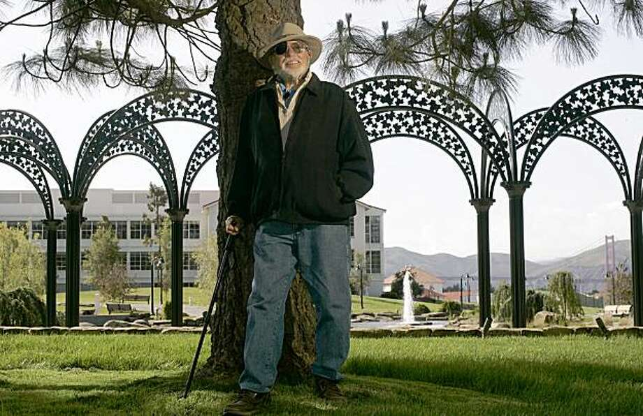 Lawrence Halprin in the middle of his Presidio landscape creation, lagoon, fountain and a view of the Golden Gate Bridge, on April 12, 2005. Photo: Michael Macor, SFC