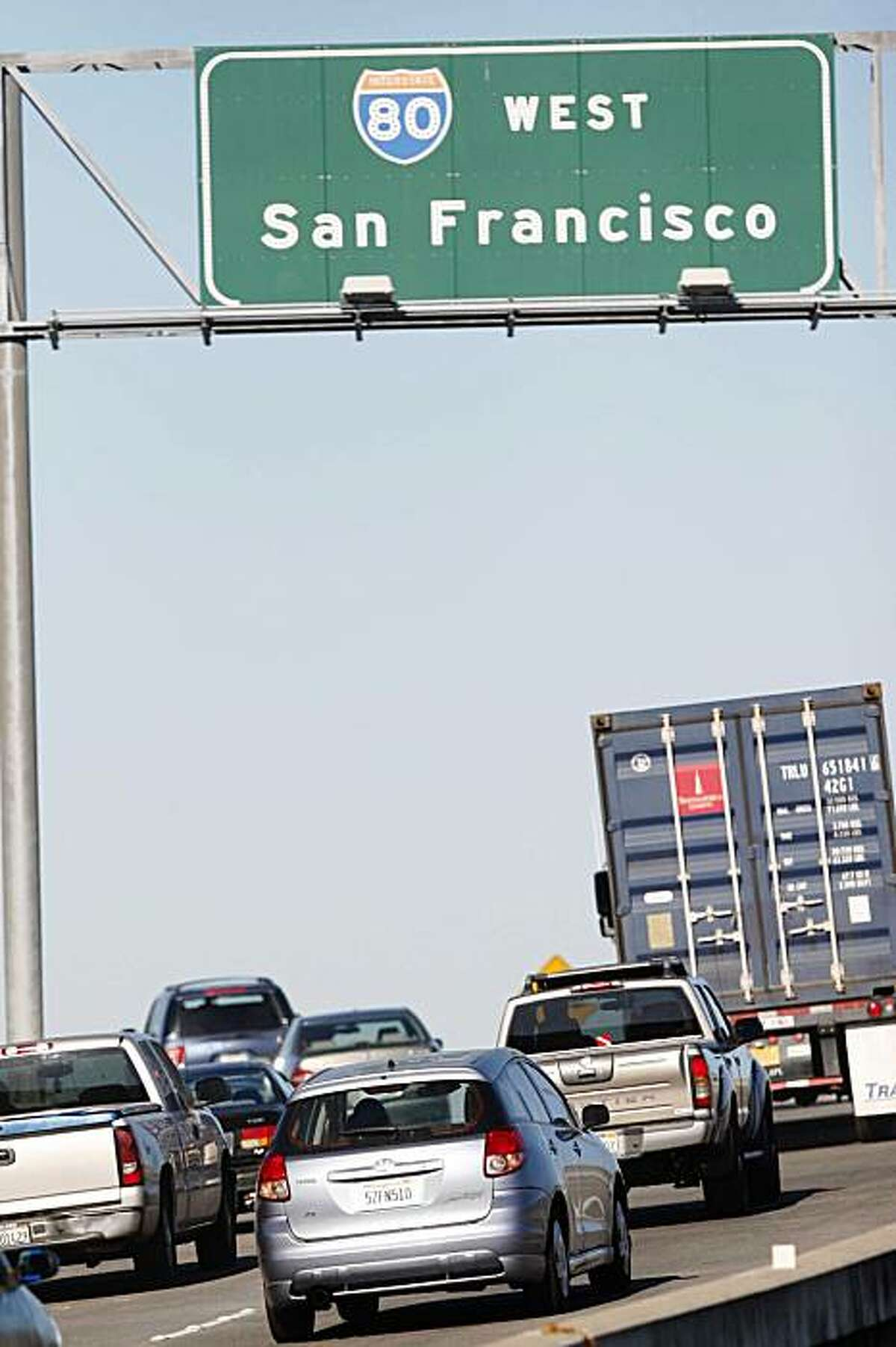 Since being closed for emergency repairs last week, commutes drive over the West Oakland approach to the Bay Bridge for the first time on Monday, Nov. 2, 2009 in Oakland, Calif.