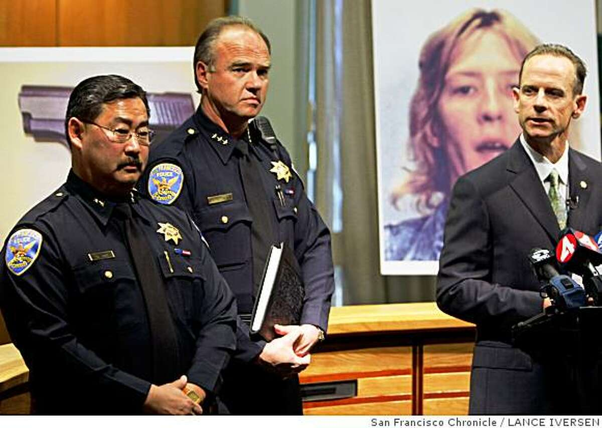 S.F. Deputy Chief of Investigations David Shinn (left) and S.F. Dept. Assistant Chief stand next to Lt. Tim Schultz of the Walnut Creek Police Department who held a press conference on Tuesday, June 3, 2008 in Walnut Creek regarding the shooting death of San Francisco Police officer Lester Garnier on July 11, 1988. The joint investigation has identified Catherine Kuntz of Florida as a suspect in the twenty-year old case. Photo By Lance Iversen / The Chronicle.
