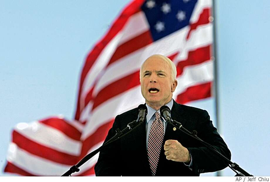 Republican presidential candidate, Sen. John McCain, R-Ariz., speaks at the New Mexico Veterans Memorial on Monday, May 26, 2008, in Albuquerque. (AP Photo/Jeff Chiu) Photo: Jeff Chiu, AP