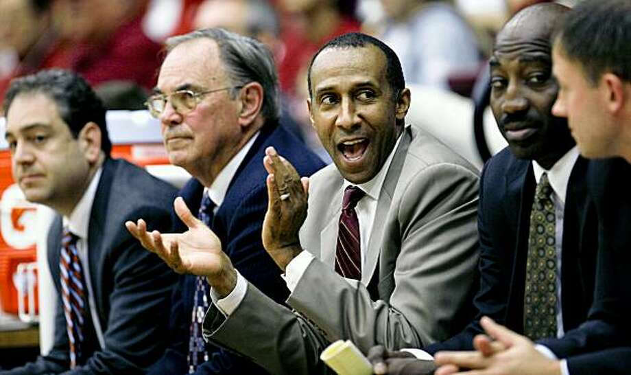 Stanford head coach Johnny Dawkins likes what he sees as the Stanford men take on Sonoma State in college basketball action at Maples Pavilion on Friday November 06, 2009 in Palo Alto, Calif. Photo: Michael Macor, The Chronicle