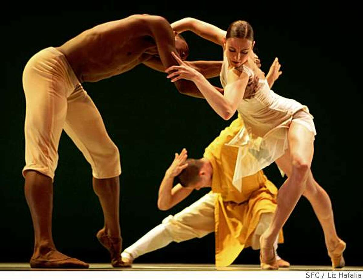 Corey Scott-Gilbert (left) with Meredith Webster (right) and Shi Yanguo (middle, back) in Alonzo Kings Ballet with the Shaolin Monks during a dress rehearsal at YBCA for the Arts Theater in San Francisco, Calif., on Wednesday, May 28, 2008.Photo by Liz Hafalia / The Chronicle