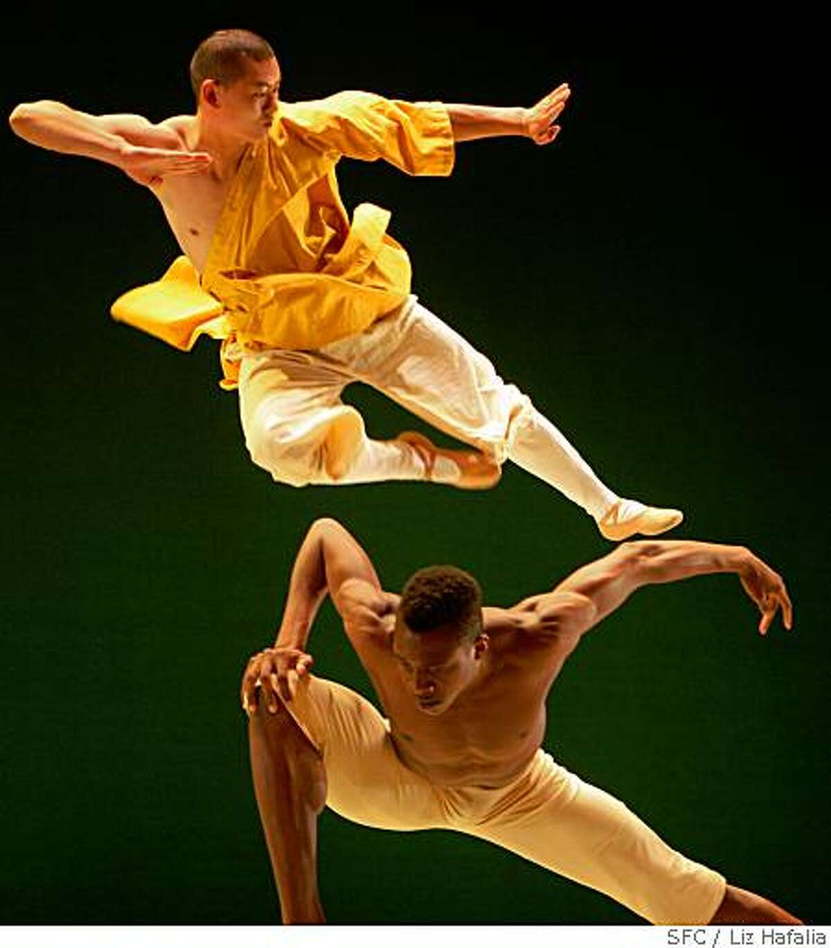 Corey Scott-Gilbert (bottom) with Shi Yanguo (top) in Alonzo Kings Ballet with the Shaolin Monks during a dress rehearsal at YBCA for the Arts Theater in San Francisco, Calif., on Wednesday, May 28, 2008.Photo by Liz Hafalia / The Chronicle