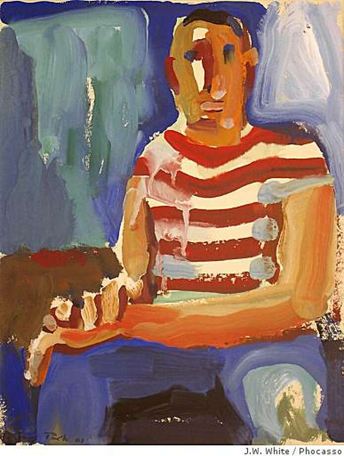 """Seated Man"" (1960) gouache on paper by David Park15"" x 11.5"" Photo: J.W. White, Phocasso"