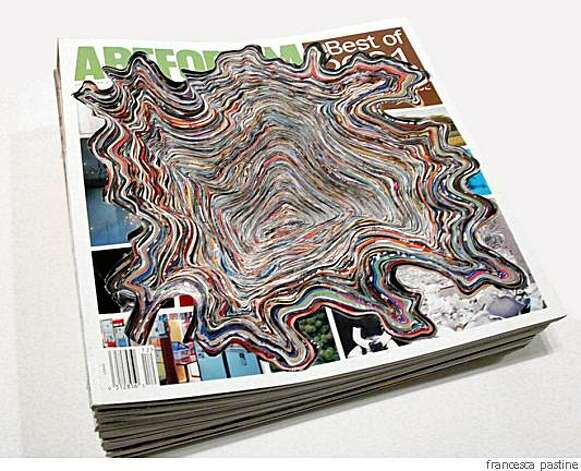 """Artforums 2001 (Artforum Excavation Series)"" (2008), altered Artforum magazines by Francesca Pastine    10.5? x 10.5 x 5"" Photo: Francesca Pastine"
