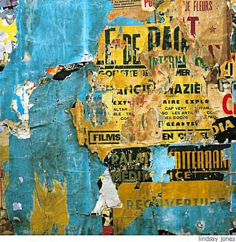 """Voie privee Raspail, Nice""(1966-1996)decollage mounted on canvas by Jacques Villegle51 x 50 1/2 inches Photo: Lindsay Jones"
