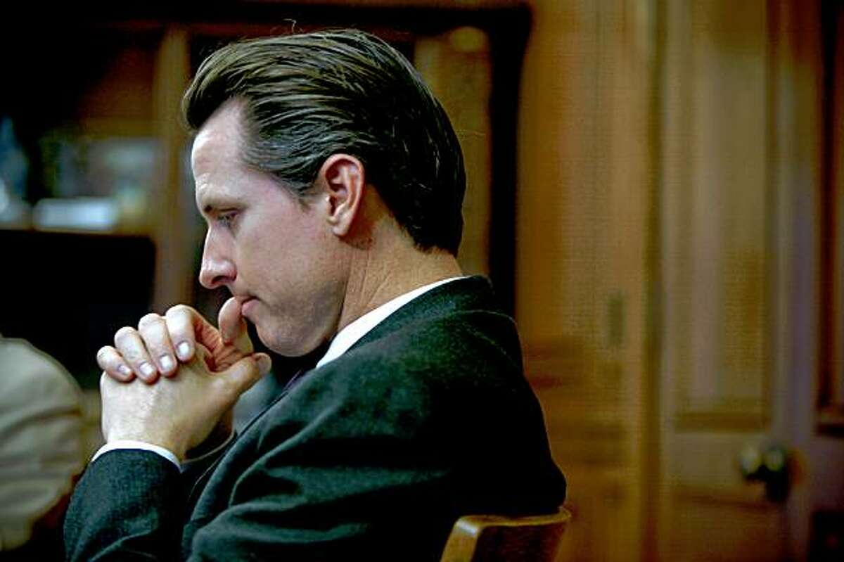 Mayor Gavin Newsom, seen during a recent interview at San Francisco City Hall, has decided to pull out of the California governor's race.