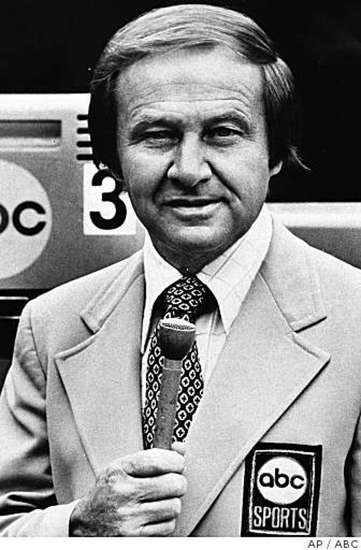 **FILE**This 1980 file photo originally from ABC-TV shows Jim McKay. McKay, the veteran and eloquent sportscaster thrust into the role of telling Americans about the tragedy at the 1972 Munich Olympics, died Saturday, June 7, 2008. He was 86.(AP Photo/ABC)