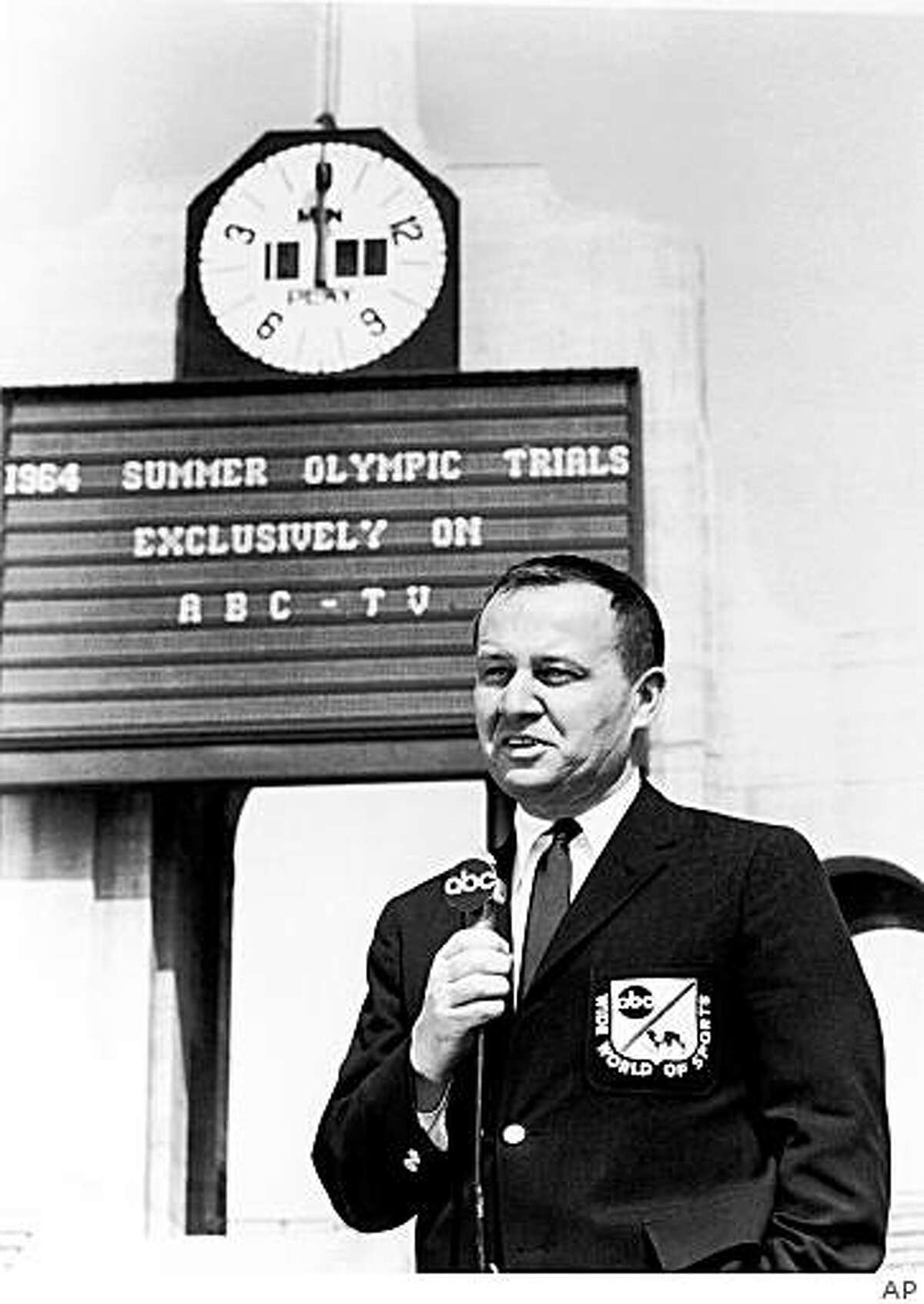 **FILE**ABC Sports commentator Jim McKay, seen here on June 23, 1964 . McKay, the veteran sportscaster thrust into the tragic role of telling Americans about the tragedy at the 1972 Munich Olympics, Saturday June 7, 2008. He was 86.(AP Photo)