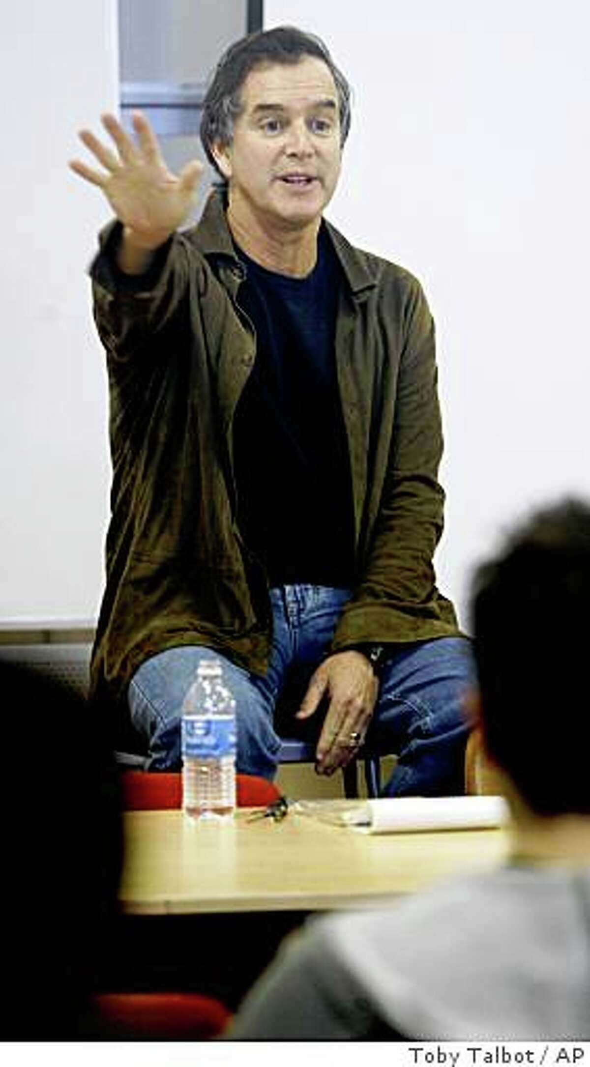 Garry Trudeau gestures as he speaks to students at the Center for Cartoon Studies in White River Junction, Vt., Monday, Oct. 22, 2007.
