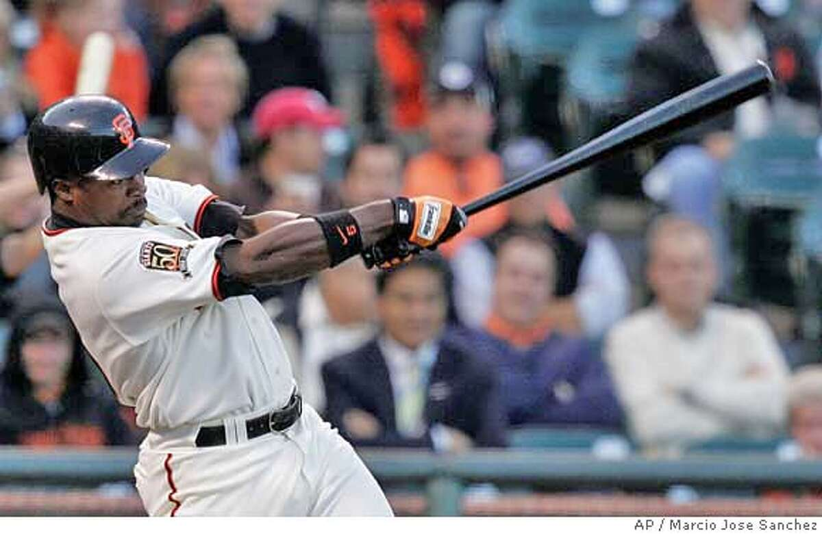 San Francisco Giants' Ray Durham hits a two-run double off New York Mets pitcher Oliver Perez in the first inning of a baseball game in San Francisco, Monday, June 2, 2008. (AP Photo/Marcio Jose Sanchez)