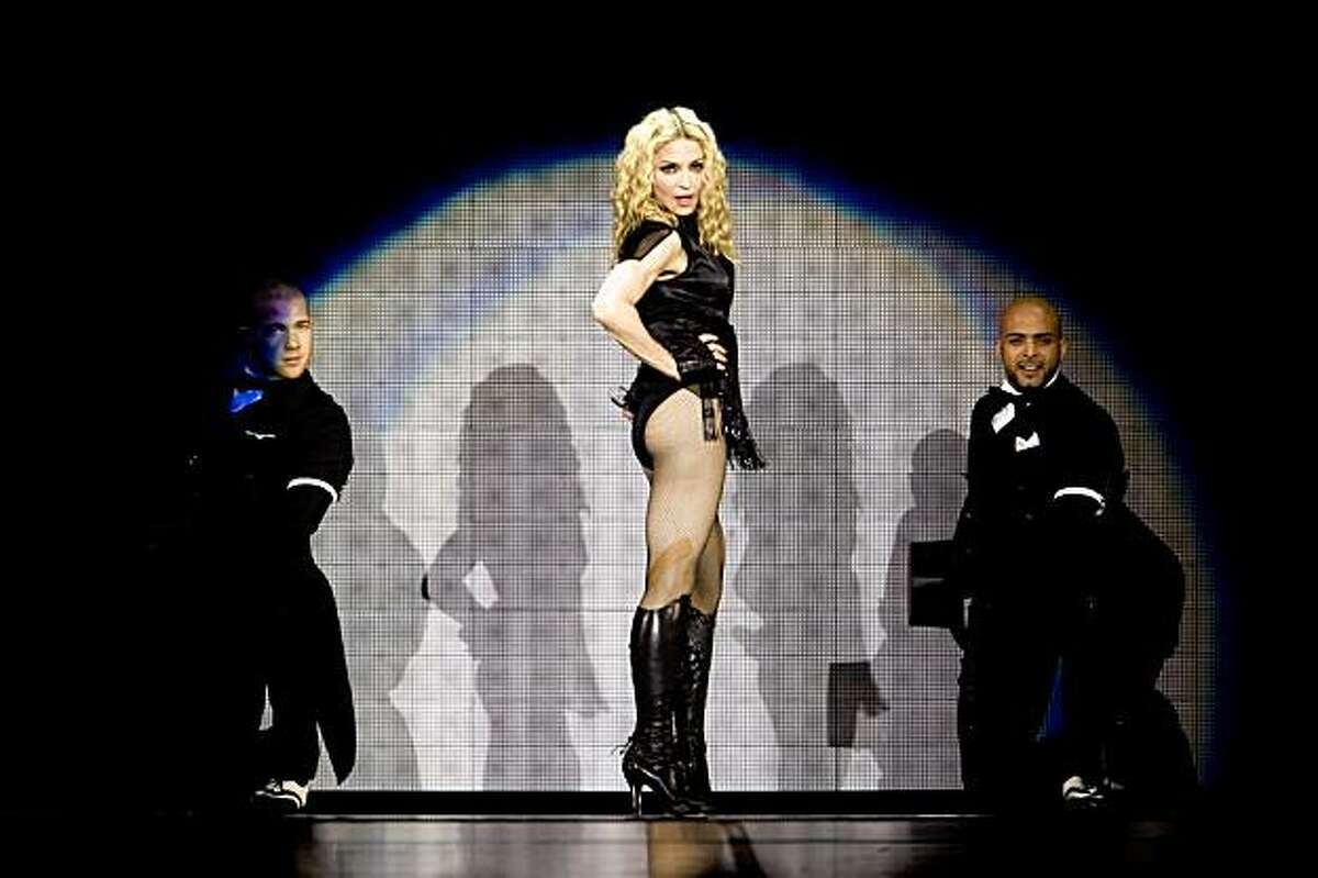 Madonna performs during a stop on her Sticky & Sweet Tour at the Oracle Arena in Oakland, Calif., on Saturday, November 01, 2008.