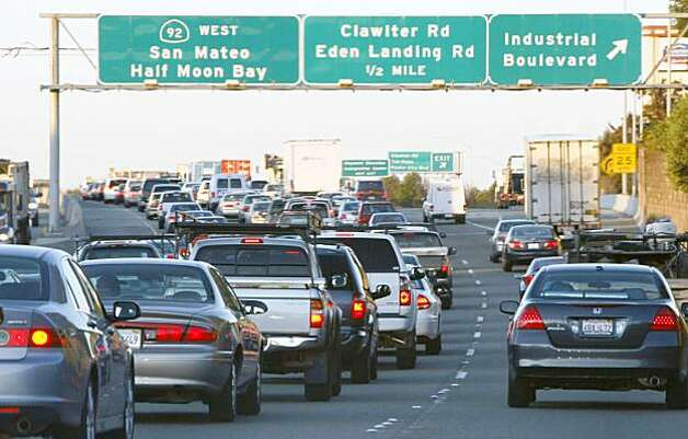 Traffic approaching the San Mateo Bridge on highway 92 from the East Bay is backed up for miles due to the closer of the Bay Bridge Wednesday morning. Photo: Lance Iversen, The Chronicle