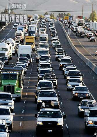 Traffic approaching the San Mateo Bridge from Hayward is backed up for miles due to the closer of the Bay Bridge Wednesday morning. Photo: Lance Iversen, The Chronicle