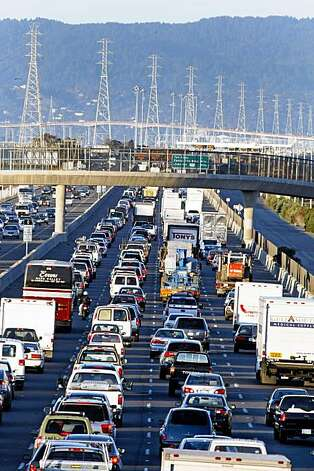 Traffic approaching the San Mateo Bridge from the East Bay is backed up for miles due to the closer of the Bay Bridge Wednesday morning. Photo: Lance Iversen, The Chronicle