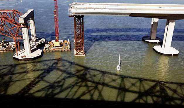 Construction on the new Bay Bridge continued as Repairs to the old boxed steel frame portion that failed last week goes on Sunday Nov. 01, 2009. Photo: Lance Iversen, The Chronicle