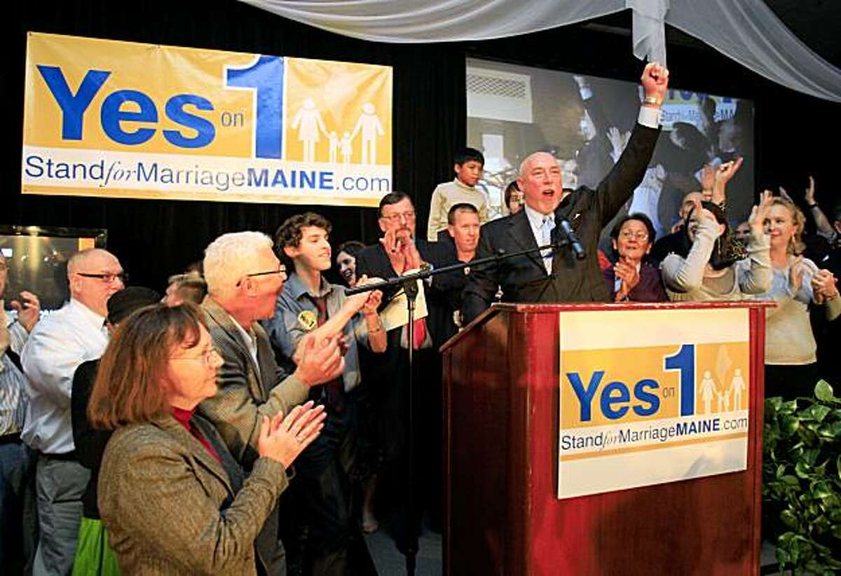Frank Schubert, campaign director for Stand for Marriage Maine, claims victory for Yes on 1, Tuesday evening, Nov. 3, 2009, in Portland, Maine. Question 1 was the proposal to rescind the Legislature's approval of same-sex marriage(AP Photo/Robert F. Bukaty)