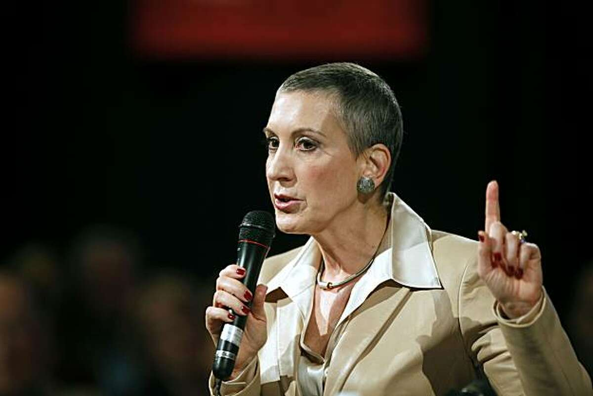 Carly Fiorina delivers a speech to the Tri-Valley Business Council in Pleasanton during a town hall meeting Friday Nov 6, 2009. Fiorina who said she is cancer free hopes to unseat U.S. Senator Barbara Boxer in next year election.