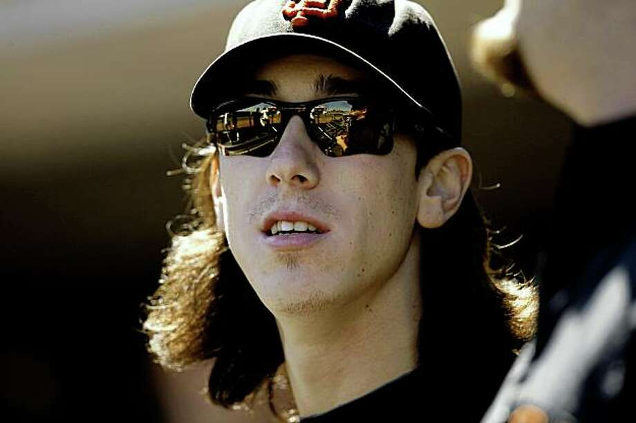 Giants pitcher Tim Lincecum watches from the dugout as the San Francisco Giants take on the San Diego Padres at AT&T Ballpark in San Francisco, Calif., on Wednesday September 9, 2009. Photo: Michael Macor, The Chronicle