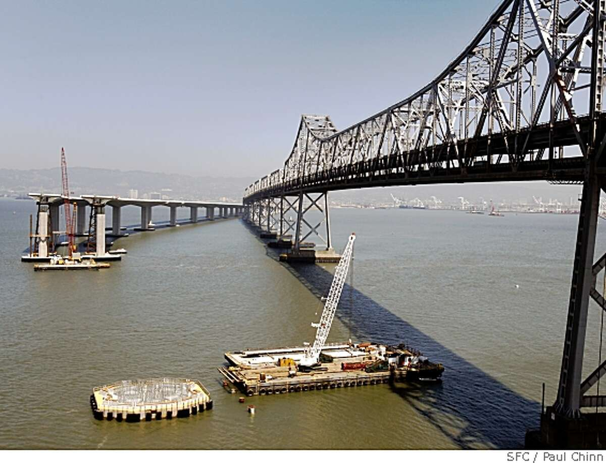 The foundation, lower left, is poured and ready for construction of the 525-foot-tall tower of the new eastern span of the Bay Bridge on Yerba Bena Island on Tuesday, May 6, 2008 in San Francisco, Calif.Photo by Paul Chinn / San Francisco Chronicle