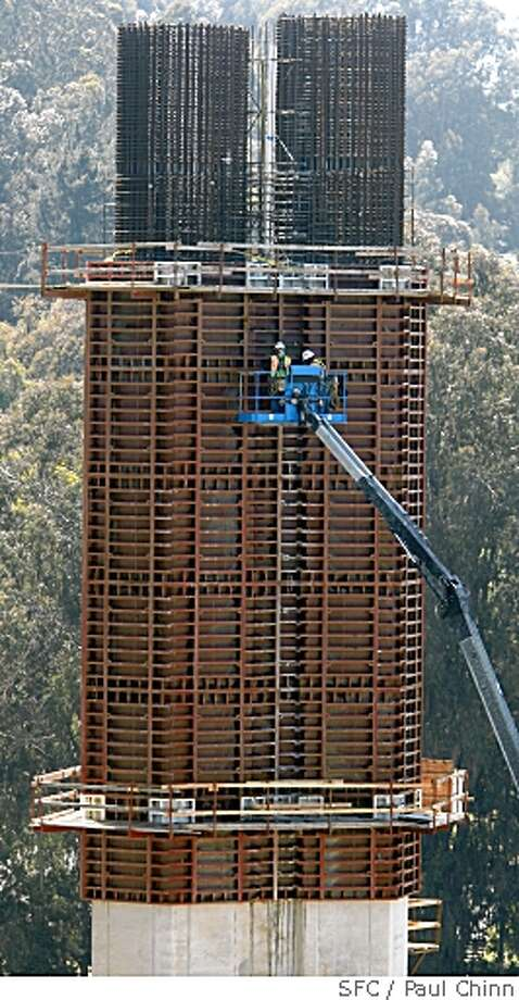 A construction crew works on a column which will support the new eastern span of the Bay Bridge on Yerba Buena Island in San Francisco, Calif. on Tuesday, May 6, 2008.Photo by Paul Chinn / San Francisco Chronicle Photo: Paul Chinn, SFC