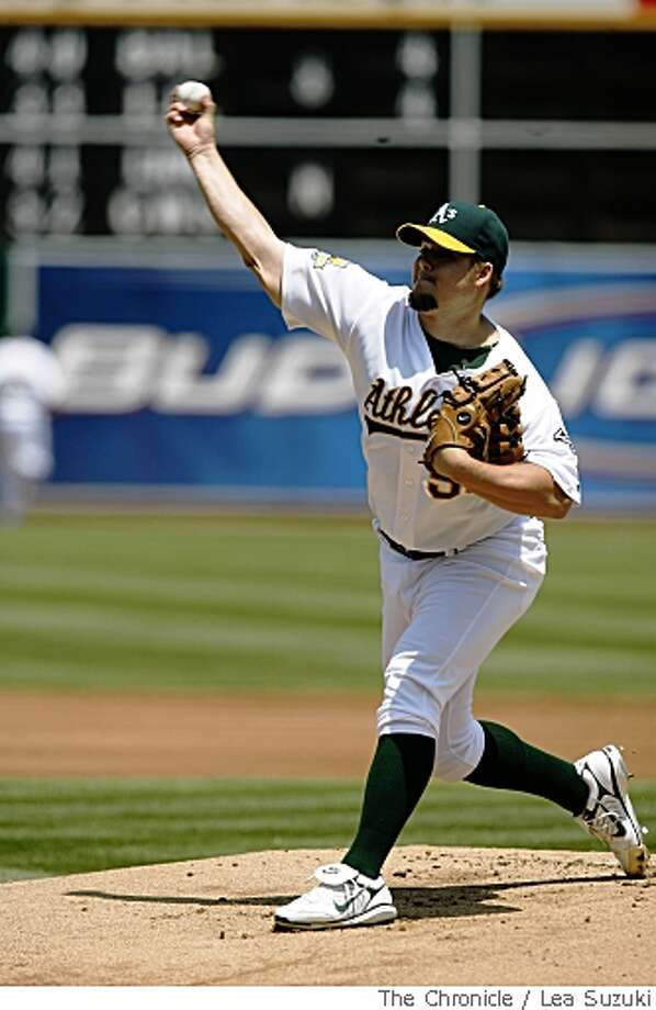 Joe Blanton of the Athletics pitches  in Oakland, Calif. on Sunday, May 25 2008 during the game against the Boston Red Sox.  Final Score of the game: Oakland 6 vs Boston 3.Photo By Lea Suzuki/ San Francisco Chronicle Photo: Lea Suzuki, SFC