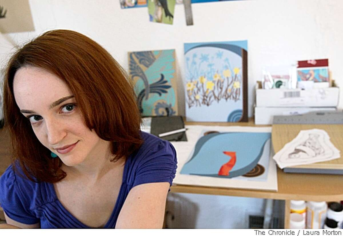 Artist Chelsea Groves photographed in her studio at her home in Daly City, Calif., on Friday, May 23, 2008. Groves uses the website Etsy.com to sell her artwork. The site is similar to Ebay, but only sells handmade items in an effort to help artists. (Laura Morton / Special to The Chronicle)