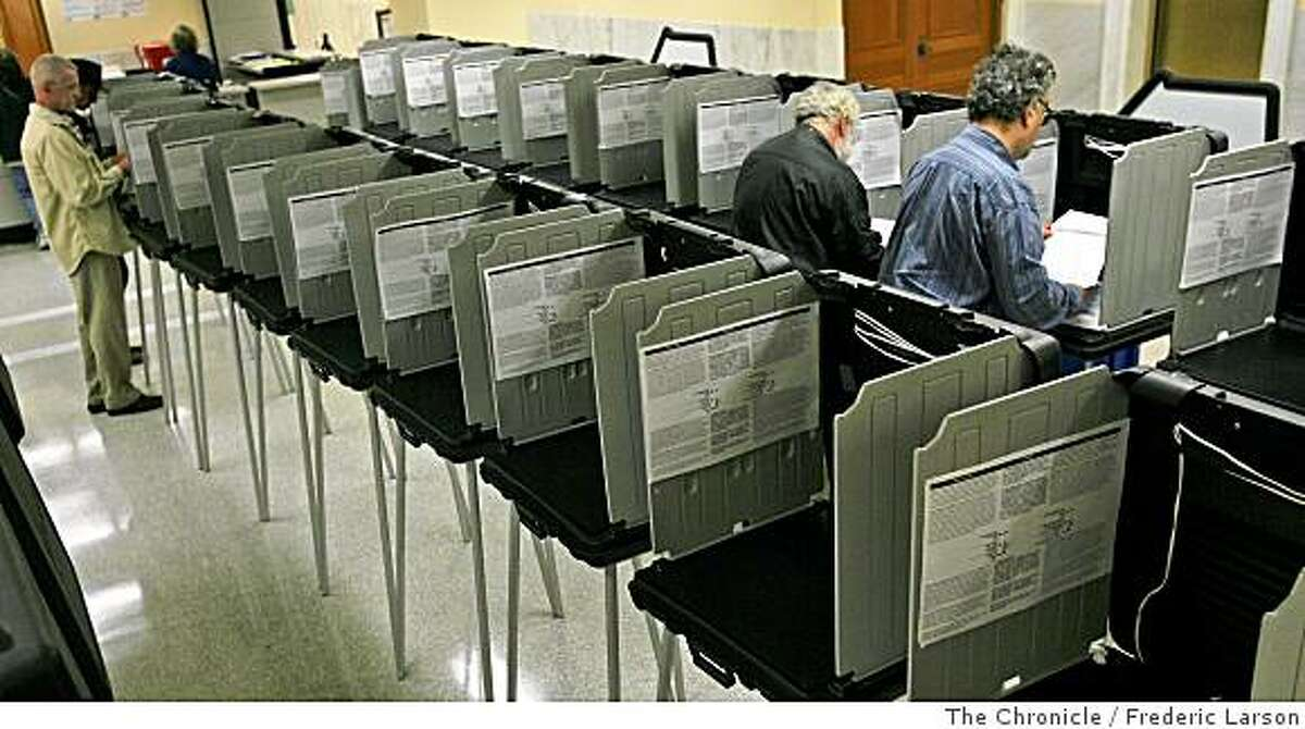 A few early voters were seen during the lunch hour voting at San Francisco City Hall on Monday, June 2, 2008 in San Francisco, Calif..