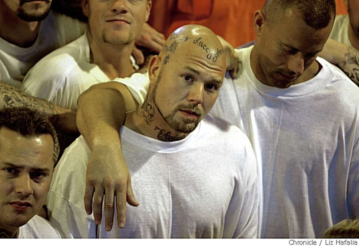 In June the prison system, including San Quentin prison will implement a U.S. Supreme Court ruling requiring the integration of inmates in double cells. Francis Linson, 27 years old (middle,) and Lexy Good, 33 years old (right), comment on the issue in San Rafael, Calif., on Tuesday, May 20, 2008. Photo by Liz Hafalia / The Chronicle
