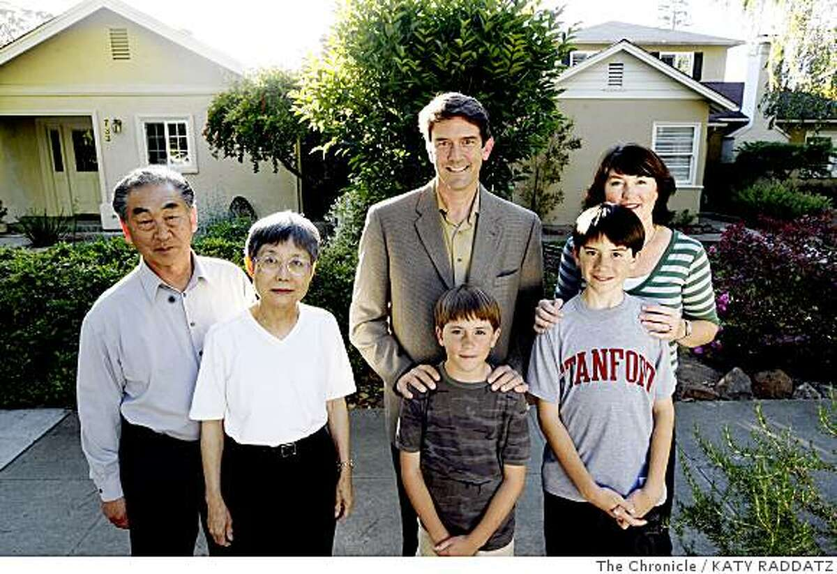 Glenn and Yoshie Kameda, left, who have lived in their home at 733 Oregon Ave. since 1993, Kent and Liz Libbey and their sons Hayden Libbey, 9, and Gavin Libbey, 11, have lived in their house next door at 737 Oregon Ave. since 2008, in Palo Alto, Calif. on Thursday June 5, 2008.Photo by Katy Raddatz / The Chronicle