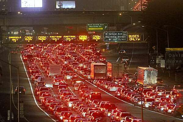 Traffic backs up on the Bay Bridge approach in Oakland after a bridgework failure Tuesday.